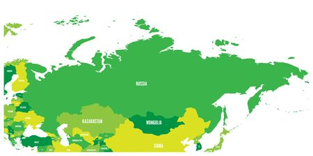Political map of Russia and surrounding European and Asian countries. Four shades of green map with white labels on white background. Vector illustration.