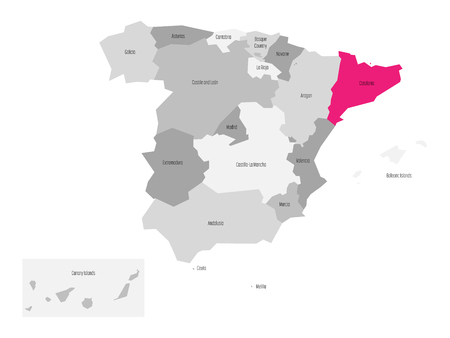 voyage: Map of Spain devided to 17 administrative autonomous communities with pink highlighted Catalonia region. Simple flat vector map in shades of grey. Illustration