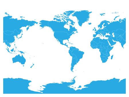Blue World map. High detail America centered political map. Vector illustration. Ilustração
