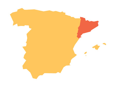 madrid: Yellow silhouette map of Spain with red highlighted Catalonia region. Simple flat vector illustration.