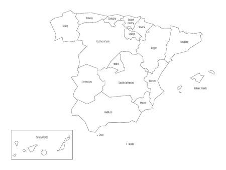 Mapa España Comunidades Autonomas Blanco Y Negro.Mapa Espanol Dividido En 17 Comunidades Autonomas