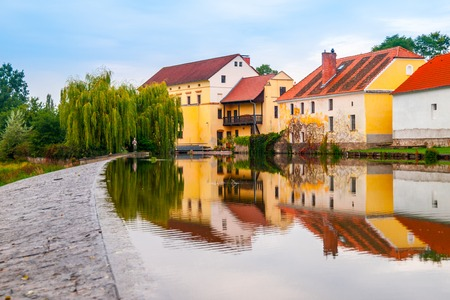 Old mill reflected in the water,Putim, Southern Bohemia, Czech Republic. Stock Photo