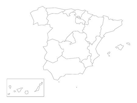 Karte von Spanien verteilt auf 17 administrative autonome Gemeinschaften. Einfacher dünner schwarzer Entwurf auf weißem Hintergrund.