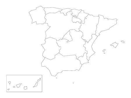 Map of Spain devided to 17 administrative autonomous communities. Simple thin black outline on white background.