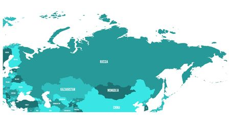 Political map of Russia and surrounding European and Asian countries. Four shades of turquoise blue map with white labels on white background.