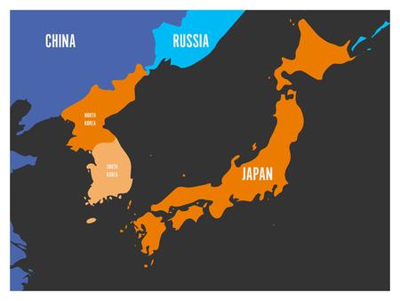 Map of South Korea, North Korea and Japan. Vector illustration. Illustration
