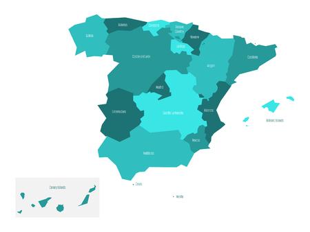 Mappa della Spagna suddivisa in 17 comunità autonome amministrative. Semplice mappa vettoriale piatta nei toni del blu turchese.