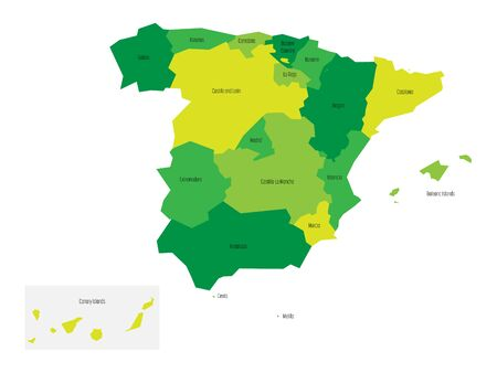 madrid: Spanish map with administrative autonomous communities in the shades of green. Illustration