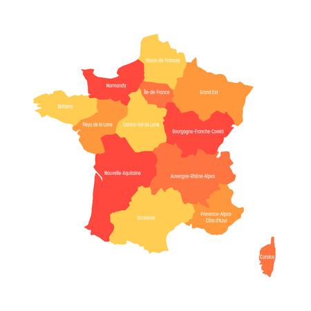Map of France divided into 13 administrative metropolitan regions, since 2016. Warm colors. Vector illustration. Illustration
