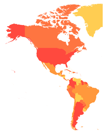 Political map of Americas in four shades of orange. North and South America. Simple flat vector illustration.