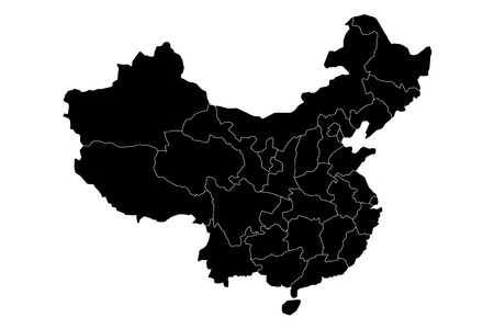 Administrative provinces of China. Black vector illustration.