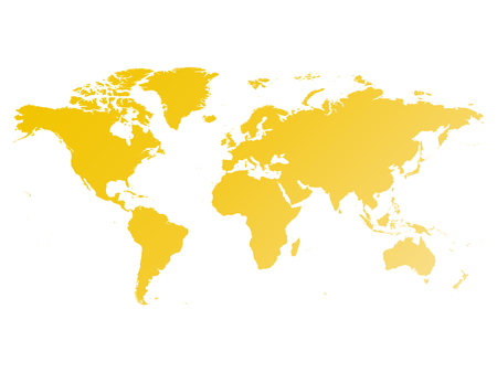 Map of World. Yellow gradient silhouette vector illustration isolated on white background.
