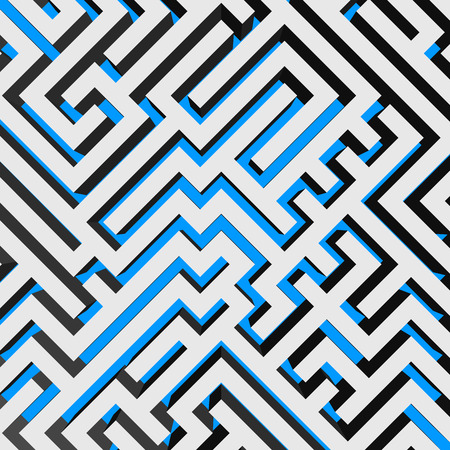 Aerial view of 3D maze labyrinth with blue ground. Vector illustration.