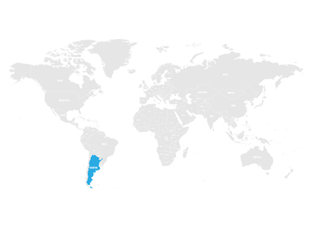 Argentina marked by blue in grey World political map. Vector illustration. Illustration