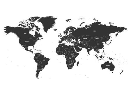 Carte politique de vecteur du monde avec l'étiquetage du nom de l'état. Banque d'images - 89276127