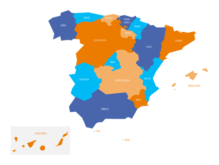 Map of Spain devided to administrative autonomous communities. Simple flat vector map.