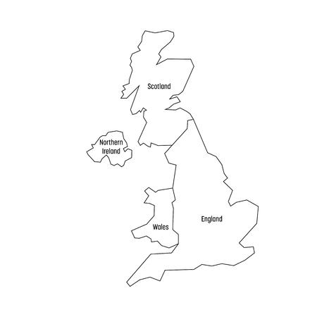 Carte des pays du Royaume-Uni - Angleterre, pays de Galles, Écosse et Irlande du Nord. Carte muette vectorielle plane simple avec des étiquettes.