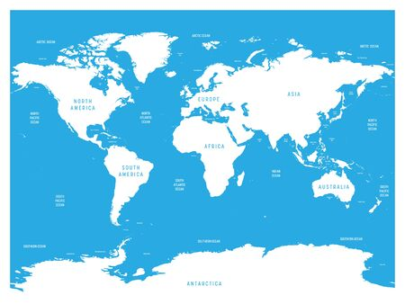 Oceanographical map of World with labels of oceans, seas, gulfs, bays and straits. Vector map with white lands and blue water.