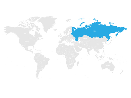 Russia marked by blue in grey World political map. Vector illustration.