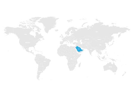 Saudi Arabia marked by blue in grey World political map. Vector illustration. Illustration
