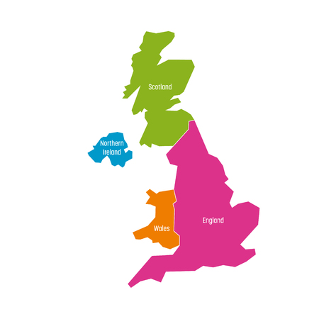 Großbritannien, Großbritannien, Großbritannien und Nordirland Karte. Aufgeteilt in vier Länder - England, Wales, Schottland und NI. Einfache flache Vektor-Illustration. Vektorgrafik