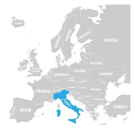 Italy marked by blue in grey political map of Europe. Vector illustration.
