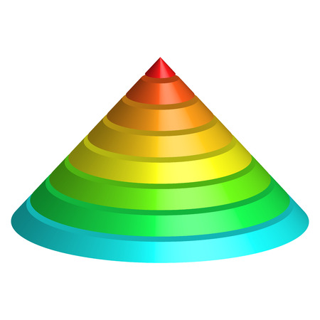 Layered cone. 3D conical pyramid of 8 multicolored rainbow spectrum layers. Vector illustration.