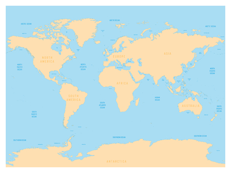 Hydrological map of World with labels of oceans, seas, gulfs, bays and straits. Vector map with yellow lands and blue water. Stock Photo - 90274303