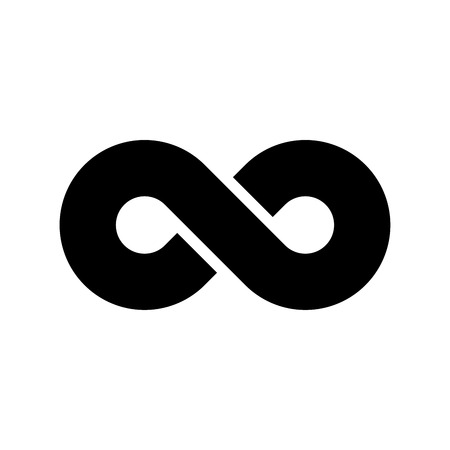 Black infinity symbol icon. Concept of infinite, limitless and endless. Simple flat vector design element.