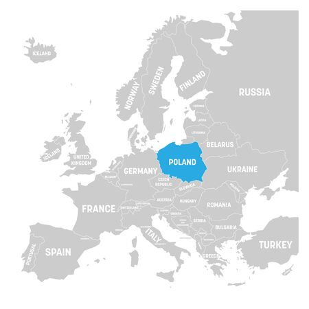 Poland marked by blue in grey political map of Europe. Vector illustration.