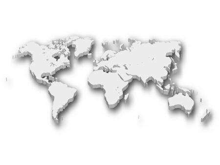 White 3D map of World with shadow isolated on white on background. Illusztráció