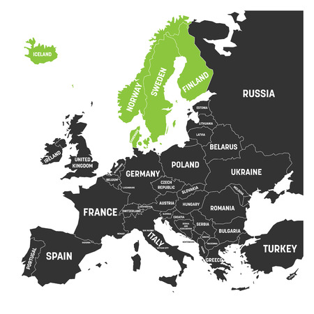 Scandinavian states Denmark, Norway, Finland, Sweden and Iceland green highlighted in the political map of Europe. Illustration
