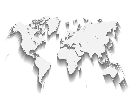 White Vector Map of World. Modern flat design with dropped long shadow isolated on green background. Illustration
