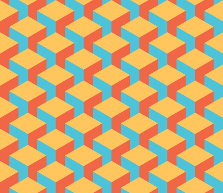 Seamless 3D geometrical pattern of cube columns. Abstract design vector background in retro colors.