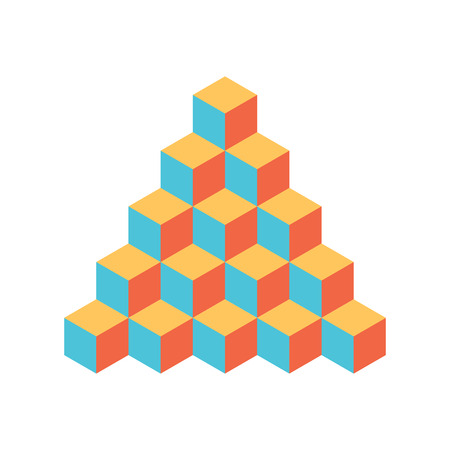 Pyramid of cubes. 3D vector illustration isolated on white background. Illustration
