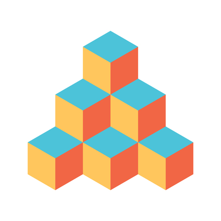 Pyramid of cubes in retro colors. 3D vector illustration isolated on white background.