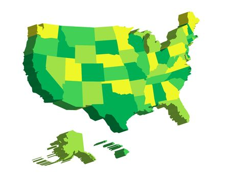 3D map of United States of America, USA, divided into federal states. Vector illustration.