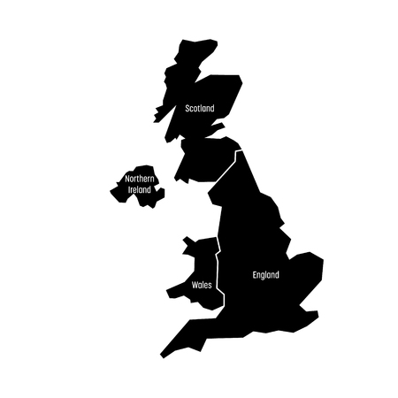 United Kingdom, aka UK, of Great Britain and Northern Ireland map. Divided to four countries - England, Wales, Scotland and NI. Simple flat vector illustration. Illustration