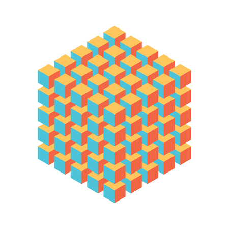 Geometric cube of smaller isometric cubes. Abstract design element. Science or construction concept. 스톡 콘텐츠