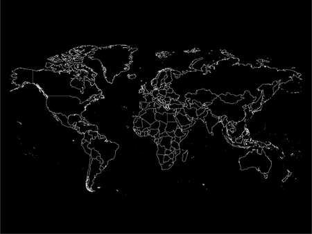 World map with country borders, thin white outline on black background. Simple high detail line vector wireframe.