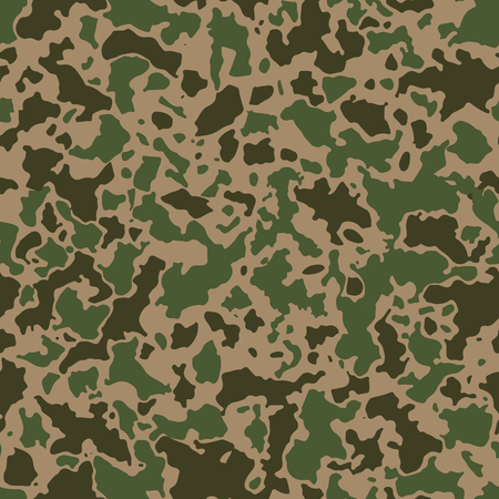 Seamless camouflage pattern with mosaic of abstract stains. Military and army camo background in green or khaki shade.