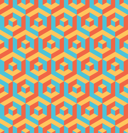 Abstract 3D background of isometric hexagonal shapes in retro colors. Vector seamless pattern design.