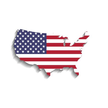 USA flag in a shape of US map silhouette. United States of America symbol. Vector illustration with dropped long shadow on white background.