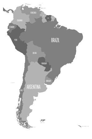 Political map of South America. Simple flat vector map with country name labels in four shades of gray.