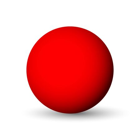 Red sphere  ball or orb. 3D vector object with dropped shadow on white background.
