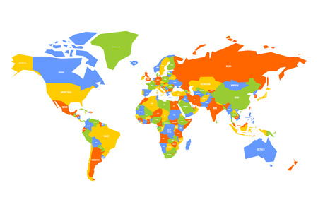 Colorful map of World, Simplified map with country name labels. Иллюстрация