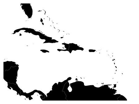 카리브 지역과 중앙 아메리카의지도. 검은 토지 실루엣과 화이트 워터입니다. 간단한 평면 벡터 일러스트 레이 션.
