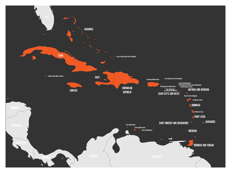 Political map of Carribean. Orange highlighted states and dependent territories. Simple flat vector illustration.