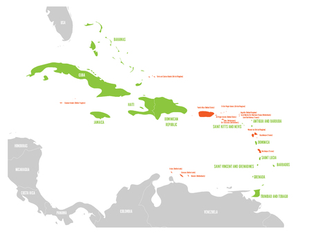 Political map of Carribean. Green highlighted sovereign states and orange dependent territories. Simple flat vector illustration.