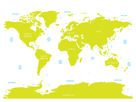 Oceanographical map of World with labels of oceans, seas, gulfs, bays and straits. Vector map with green lands and white water. Illustration